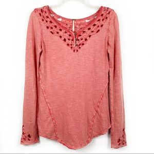 Free People Luna Eyelet Cut Out Thermal Top